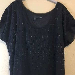 Eileen Fisher Black Beaded Top Blouse